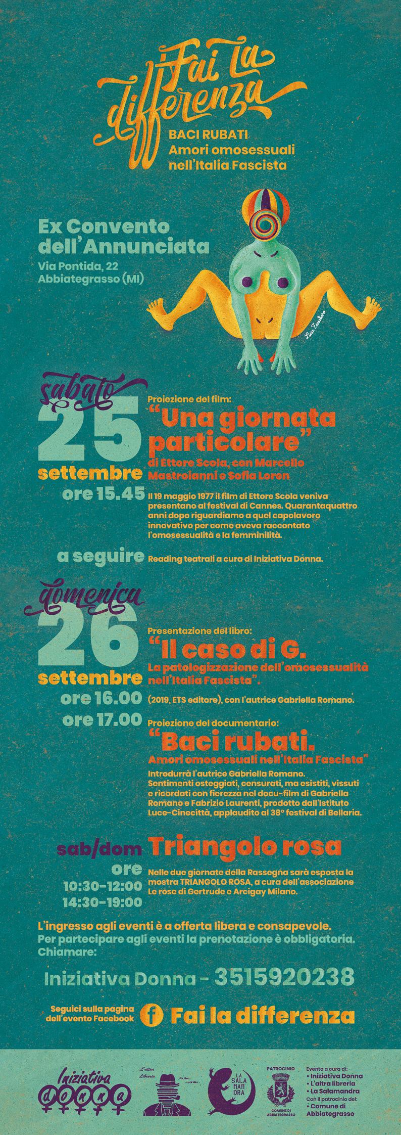 seconda edizione di Fai la Differenza. Baci Rubati. Amori omosessuali nell'Italia fascista